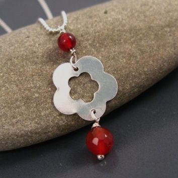 Delicate jewelry, Simple silver flower necklace, red Agate and sterling silver pendant