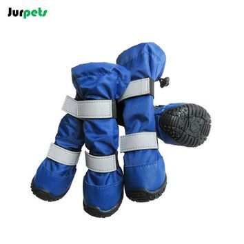 Pet Shoes Reflective Double-band Dog Shoes Waterproof Outdoor Sport Anti-skid High Tube Snow  Rain Boots Large Dogs(4pcs/set)