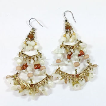 Vintage Chandelier Earrings Designer Liz Claiborne Boho Mother of Pearl Shell Agate Stone Wood Glass Beads Fabulous Boho Fashion