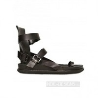 Indie Designs Black Calfskin Belted Sandals