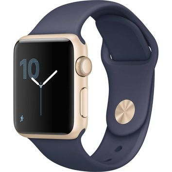 Apple Watch Series 1 38mm Smartwatch (Gold Aluminum Case, Midnight Blue Sport Band)