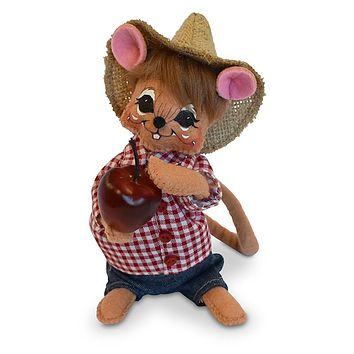 Annalee Dolls 6in 2018 Harvest Apple Picking Boy Mouse Plush New with Tags