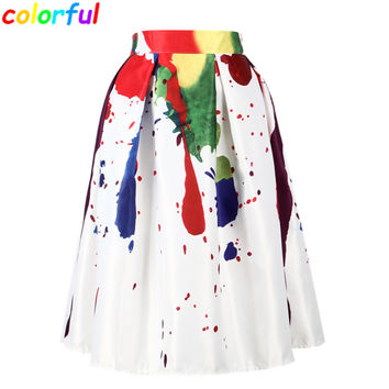 2016 Spring Summer New Ladies Elegant Fashion Graffiti Print Painting High Waist Midi Skirt Holiday Wear Saia Femininas SK083