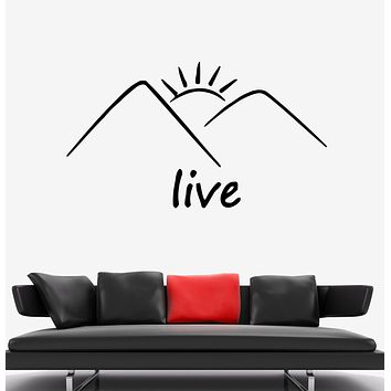Wall Decal Nature Mountains Sun Landscape Word Live Vinyl Sticker (ed1456)