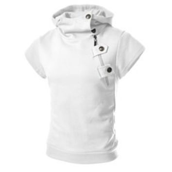 Fashion Style Solid Color Slimming Button and Zipper Personality Embellished Short Sleeves Men's Cotton Blend Hoodies
