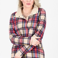 Plaid Perfect Snap Button Fleece Pullover {Taupe}