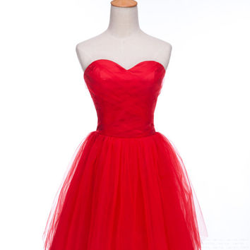Custom A-line Sweetheart Sleeveless Mini Tulle Fashion Prom Dress Bridesmaid Dress Formal Evening Dress Party Dress 2013