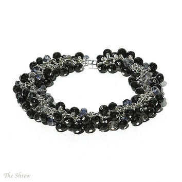 Elegant Black Spinel Bracelet / Blue Purple Iolite Gemstone / Sterling Silver / Wire Wrapped / Statement Jewelry / Gifts For Her / OOAK
