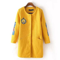 Yellow Front Sleeve Embroidery Print Coat