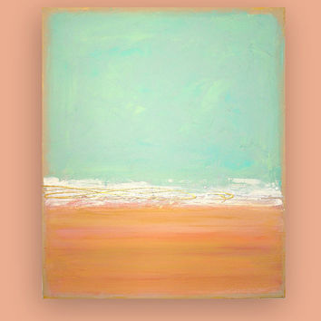 "Acrylic Abstract Art Canvas Painting Titled: Coral Reef II 30x36x1.5"" by Ora Birenbaum"