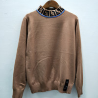 Fendi New Fashion Autumn And Winter Neck Letter Women Long Sleeve Top Sweater Brown
