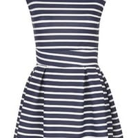 **Stripe Skater Dress by Wal G - Navy Blue