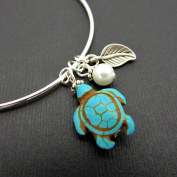 Turquoise Turtle Bangles Bracelets, Sterling Silver Stackable Bangles, LoVE Friendship Bridesmaid, Mothers Gift,Weddings, Stacking Bangles