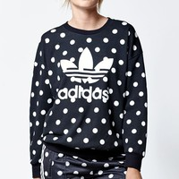 adidas Dots Print Crew Neck Sweatshirt - Womens Hoodie - Black
