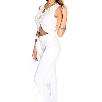 Sexy White Sleeveless V Neck Cropped Hemline Jumpsuit