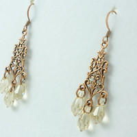 VictorianFolly Copper Filigree and Swarovski Crystal Earrings