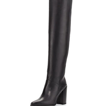 Stuart Weitzman Scrunchy Leather Knee Boot, Black
