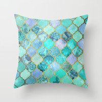 Cool Jade & Icy Mint Decorative Moroccan Tile Pattern Throw Pillow by Micklyn
