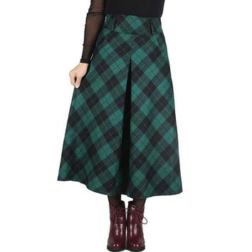 Women Skirts Autumn Skirts Elegant Plaid Skirt Fashion Mid-Calf Classical Wool