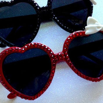Rhinestone Heart Sunglasses With Bow