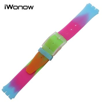 17mm Silicone Rubber Watchband + Tool for Swatch Men Women Watch Band Replacement Strap Wrist Belt Bracelet Black White Colorful