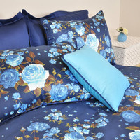 Navy Blue Floral Bedding in Full or Queen Size -Turquoise Blue Rose Print Cotton Sateen Shabby Chic Bedding - 6 pcs Duvet Cover & Sheet Set