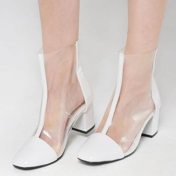 Center Line Clear Heels-White