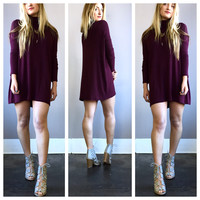A Burgundy Knit Sweater Dress