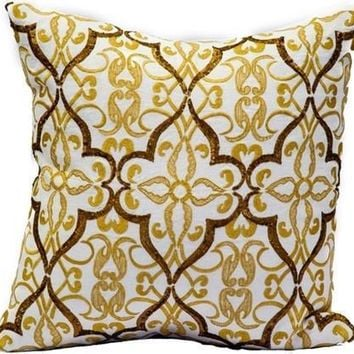 Cream Linen/Gold Emb/Gold Sequins Pillow