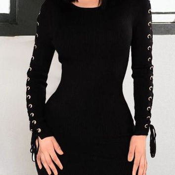 Trendy Round Neck Lace-up Hollow-out Black Cotton Sheath Mini Dress