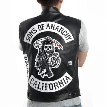 Sons of anarchy Harley Motorcycle Embroidery Leather Vest black punk Jacket