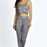 Petite Robyn Gingham Bralet and Trouser Co-Ord