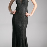 Black Long Prom Dress with Illusion Neckline and Cut-Out Back