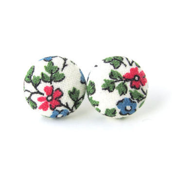 Floral fabric earrings - white button earrings - vintage style stud earrings - spring post earrings green blue pink