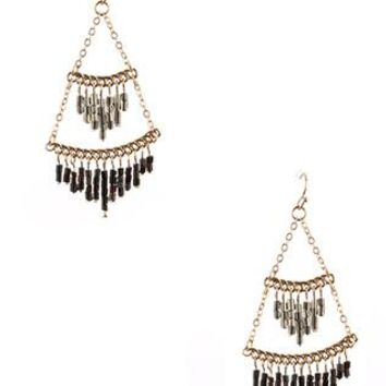 Seed Bead Double Layered Metal Fringe Earrings