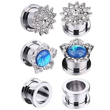 BodyJ4You 6PC Screw Fit Ear Plug Surgical Steel Created-Opal Stretcher Flower Gauges Set 16mm (5/8 Inch)