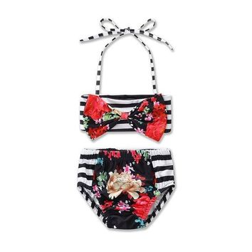 Childrens Swimsuit Cute 2017 Ins Baby Girls Cute Swimwear Floral American flag 4th of July Bow Bikini Fashion Two Piece Swimming Suit For Children 17003 KO_25_2