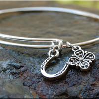 Lucky Horseshoe Expandable Bangle bracelet, Lucky Jewelry, Irish Luck Jewelry, Sterling Silver Bangle, stacking bangle, adjustable bangle