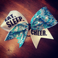 Eat. Sleep. Cheer. Turquoise sequins cheer bow.