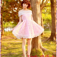 Kawaii Princess Cute Sweet Dolly Lolita Lace Cape Sleeve off-shoulder Dress Pink