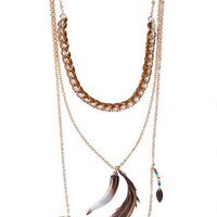 Gia Feather & Horn Layered Necklace