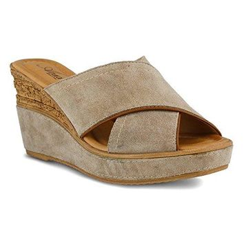 Azura Vampiano Women Open Toe Leather Wedge Sandal