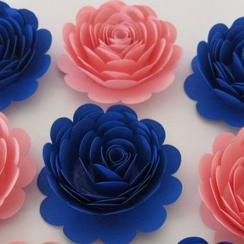 "Boy or Girl baby Shower Paper Flower Decorations, set of 6 large 3"" roses, Pink and Royal Blue, Prince or Princess Theme, Centerpiece decor"