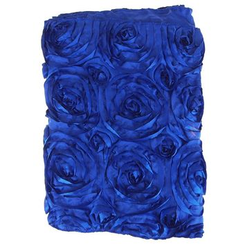 Satin Rosette Table Runner with Serged Edge, Royal Blue, 14-Inch x 108-Inch