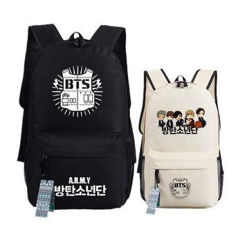 New fashion Printing BTS Bangtan Boys School Backpack WINGS Canvas women men Backpacks Teenage Girls Laptop Back Pack Mochila