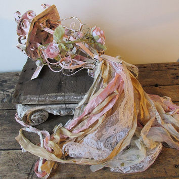 Vintage metal candle lantern wall hanging shabby cottage chic pink rusty adorned w/ tattered fabrics roses home decor anita spero design