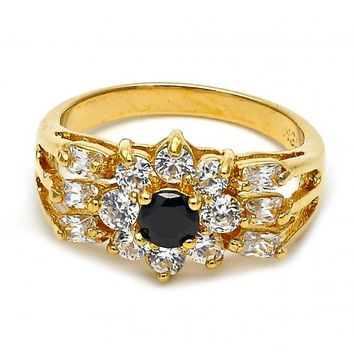 Gold Layered Mult-stone Ring, Flower and Baguette Design, with Cubic Zirconia, Gold Tone