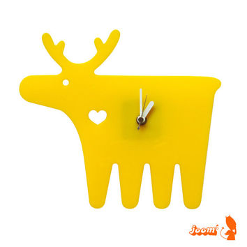 Yellow Moose Wall Hanging Clock