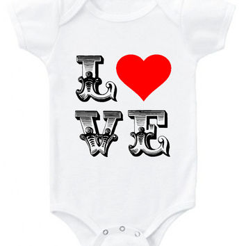 LOVE Valentine's red heart boys or girls graphic baby bodysuit or organic cotton toddler t shirt