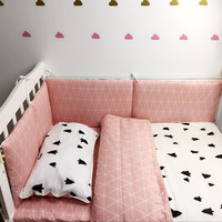 Baby Bedding Sets Bumper Breathable Cotton Print Pattern Quilt Cover Bed Sheet Pillow Case Baby Bed  Around Bumper Crib Bedding